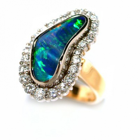 Boulder opal diamond  cluster ring