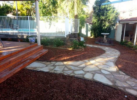 Sandstone Flagging & Metal Edging ##