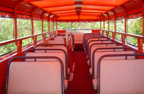 Top deck seating on bus