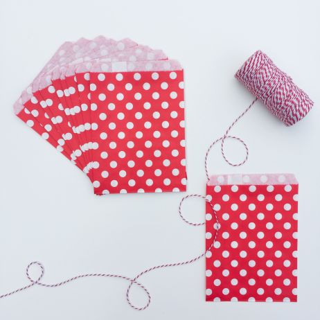 10 SPOTTY PAPER BAGS - RED