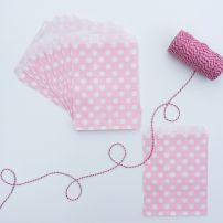 10 SPOTTY PAPER BAGS - PALE PINK