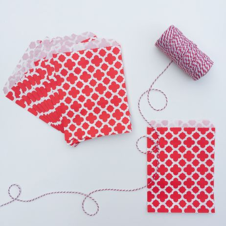 10 PATTERNED PAPER BAGS - RED