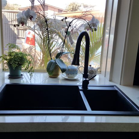 HOW ABOUT BEING DIFFERENT. BLACK GRANITE SINK AND A BLACK TAP