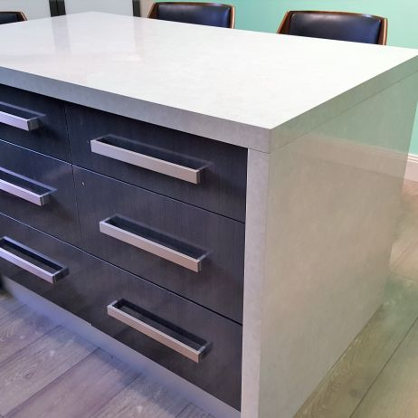 ISLAND BENCH WITH 50MM THICK TOPS AND ALL SOFTCLOSE DRAWERS