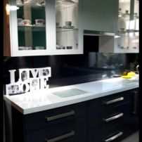 BENCH TOP IN 50MM AND GLASS OVERHEAD CABINETS WITH LED LIGHTS