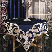 A. Blue Table Cover with Designer Drapes