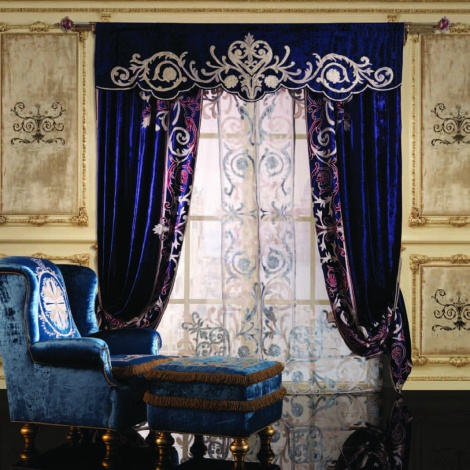 Blue Royal Curtains with valance