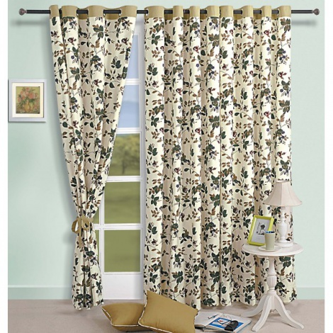 Floral European Print Curtain Pair-619