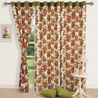 Floral Bunch Print Curtain Pair-7606