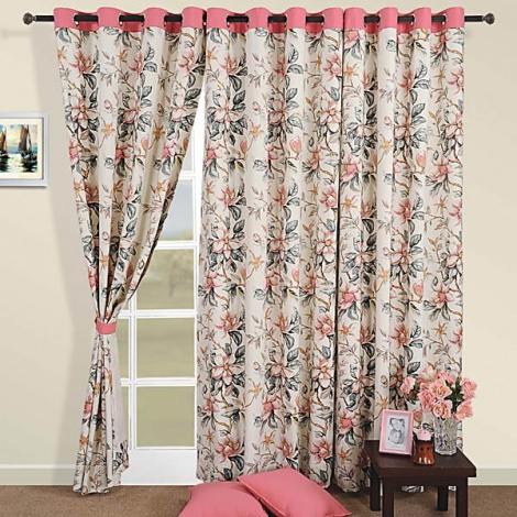 Rose pink flowers Curtain Pair-3537