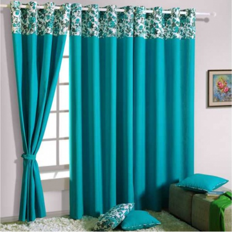 Azure Solid Curtain Pair -2711