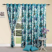 Blue Leaves Curtain pair-7701