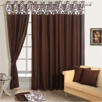 Choco Brown Solid Curtain Pair-9009