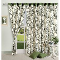 Green European Floral Curtain Pair-2502