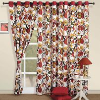 Red Contemporary Curtain Pair-3702