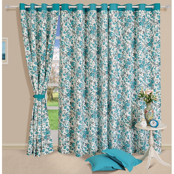 Turquoise Floral Curtain Pair 2711 Heritage Home