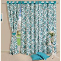 Turquoise Floral Curtain Pair-2711