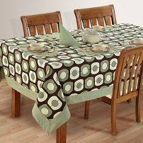 Six Seat Rectangle Dining Table Cover + Six Napkins-1901