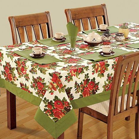 Six Seat Rectangle Dining Table Cover + Six Napkins-7606