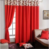 Ruby solid curtain Pair-6904
