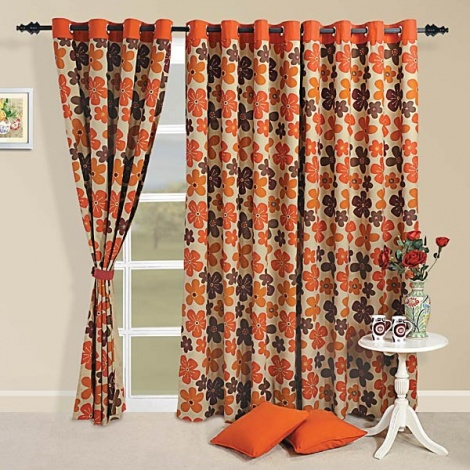 Rust sprinkle Curtain Pair-6717
