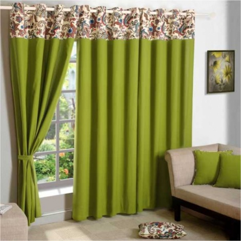 Green solid curtain Pair-4703