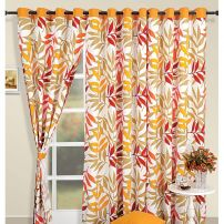 Yellow leaves Curtain Pair-5904