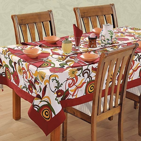 Six Seat Rectangle Dining Table Cover + Six Napkins-3702
