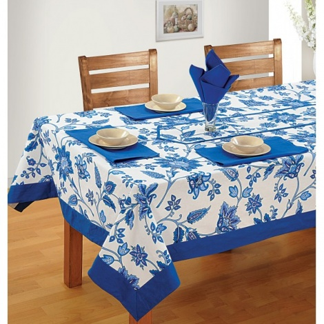 Six Seat Rectangle Dining Table Cover + Six Napkins-3901