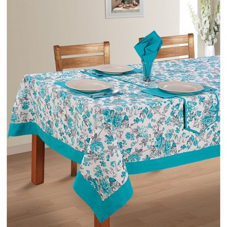 Six Seat Rectangle Dining Table Cover + Six Napkins-2711