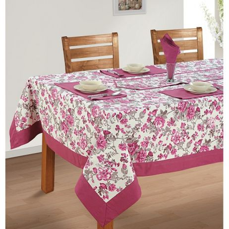 Six Seat Rectangle Dining Table Cover + Six Napkins-2712
