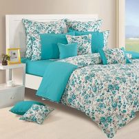 Aqua Floral Duvet Cover 100% Premium Cotton