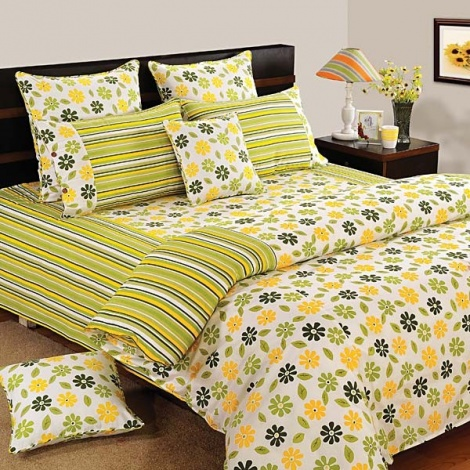 Yellow Green Floral 100% Premium Cotton