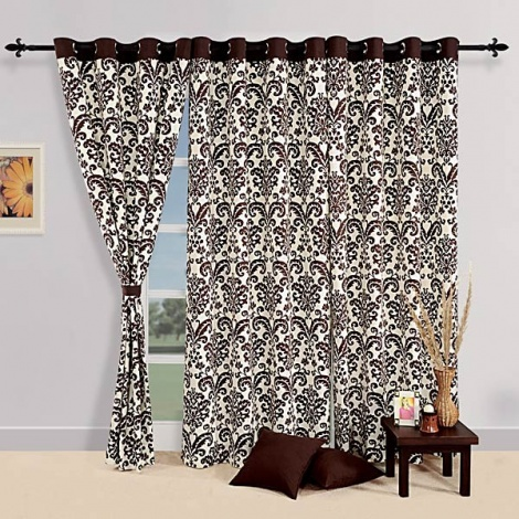 White Baroque Curtains Pair