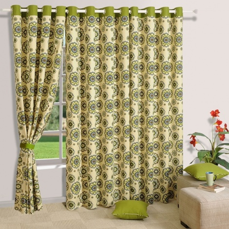Medallion Flower Printed Curtain Pair