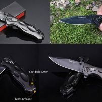 BLACK TACTICAL SURVIVAL POCKET KNIFE