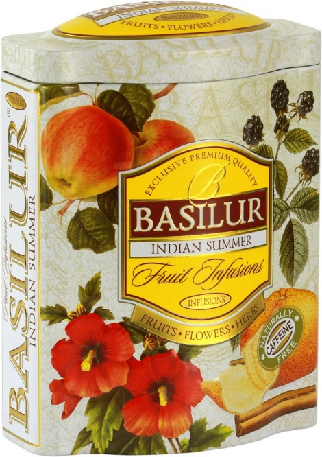 Basilur Fruit Infusions Indian Summer - Herbal Tea with Apple, hibiscus, raisin, rose buds, cinnamon