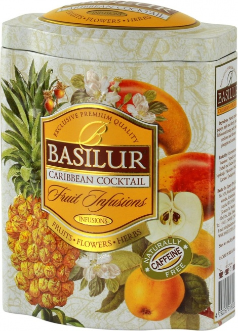 Basilur Fruit Infusions - Caribbean Cocktail herbal tea - coconut, hibiscus, pineapple 100G TIN