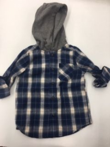 Milky-Hooded check shirt