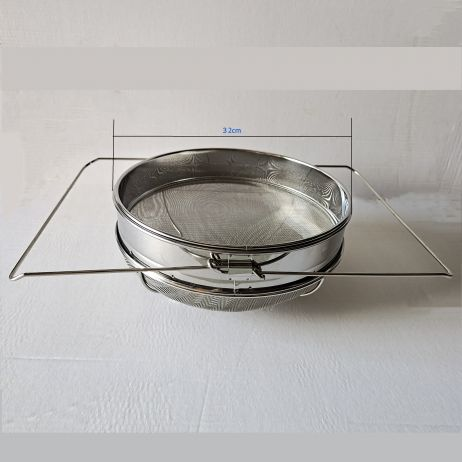 Big Double Layer Stainless Steel Honey strainer / Filter, 32cm diameter