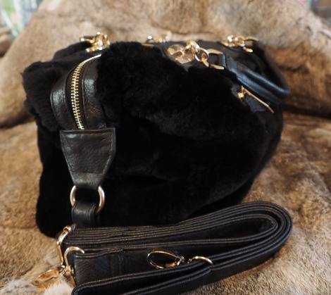 A WONDERFUL TRIMMED JET BLACK RABBIT BAG - GREAT FOR SHOPPING OR A WEEKEND AWAY