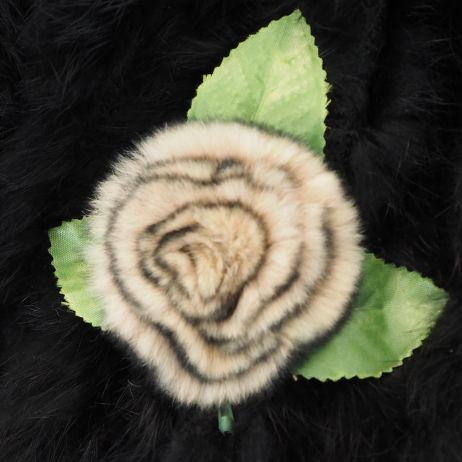 A beautiful Soft Beige black tipped Rose brooch/clip - The perfect winter accessory