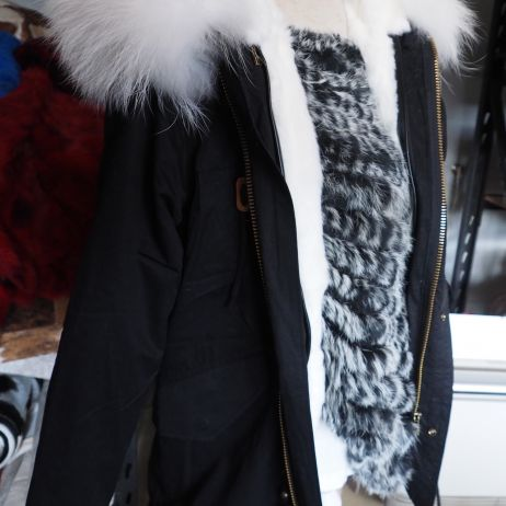 Wonderful White Rex Rabbit Lined Parka with a stunning Fur Trim