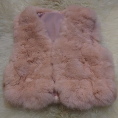 How adorable - a gorgeous fully satin lined soft pink Rabbit Fur Vest