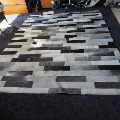 Wonderful colour & style - a superb subway tile steel grey cowhide rug
