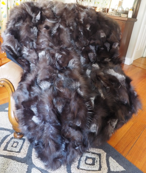 An Absolutely Stunning Dark SIlver Fox Fur Throw