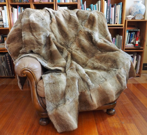 Wonderful perfectly matched Natural Brown Fullskin Rabbit Fur Throw - Simply Divine