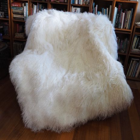An Exceptional Piece - A stunning Feather Soft Pure White Mongolian Lambswool Throw