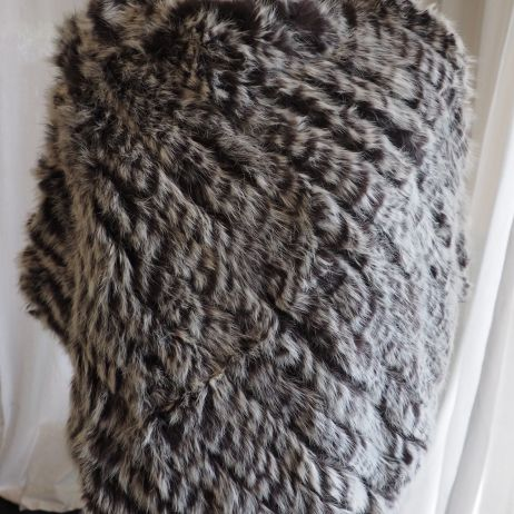 A Wonderful Frosted Cocoa Brown Rabbit Fur Poncho - so lightweight and warm
