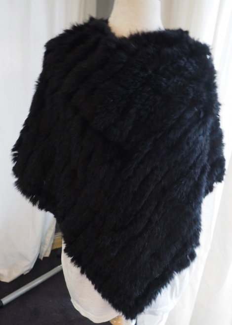 From Day to Night In Winter Style - A Superb Jet Black Rabbit Fur Poncho